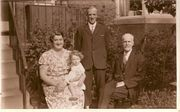 John (Centre) with Father Albert and dsughter Kathleen, GDaughter Margaret. Holme c1935 courtesy of Margaret Lindley
