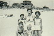 Laura and her children at Ocean City, NJ (abt 1945)