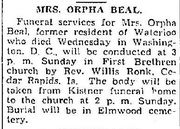 Funeral of Orpha Beal