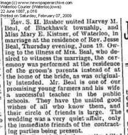 Marriage of Harvey and Mary Beal