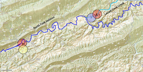 Abner and Eve initially settled on Locust Cove Creek, near her brother.  Her father lived a bit further up the valley. This area is heavily wooded today.   A1=approimate area of homesite.  Eve's father lived somewhere to the north of Abner and Eve in what was then Wythe County.  S=Location of the homesite of Eve's Brother; Yellow spot marks the location of Saltville.  H=Approximate location of Henry Willis Homesite;