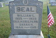 Tombstone of William L. and Sarah H. Beal