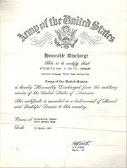Front of Active Duty Discharge