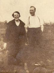 Michael and Mary shortly after they married, at their allotment in Kilburn.