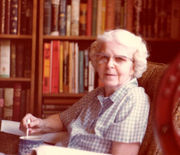 Catherine Lennon Roll in her library, about 1975.