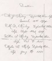 Family Record of E. T. Richey-Deaths