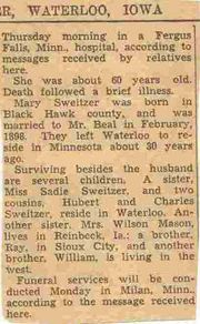 Obituary of Mary Edna Beal