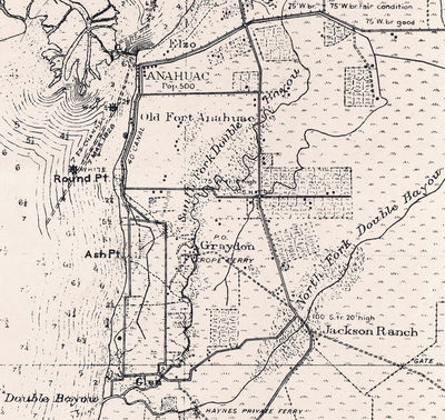 1928 topographic map showing the location of Graydon, Texas.