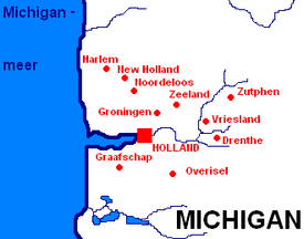 Dutch settlements in Michigan.Door Nederlanders gestichte plaatsen in Michigan