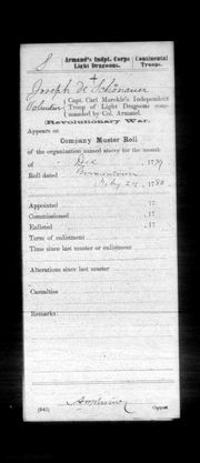 Extract of Company Muster Roll (Dec 1779)