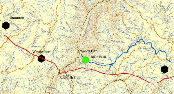 Based on National Map mappings, modifying topo and hydro layers for clarity, labeling added. Red line indicates approximate route of Three Chopted Road from Tidewater to Staunton. Three Chopted Road crossed the blue Ridge at Rockfish Gap. Person:Michael Woods (1) led a party from PA down the Great Road into the Valley of Virginia, then crossed the Blue Ridge going East into Piedmont Va. He crossed at the gap then known as Woods Gap, but now known as Jarmans Gap, after a later owner of property in the area. Wood's main home site was at Blair Park; its location is approximated by the green hexagon. Click map for more detailed view