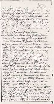 Elizabeth Stout Richey Affidavit of Marriage
