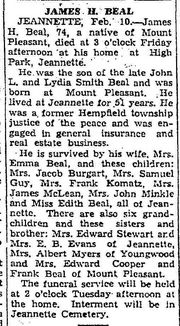 Obituary of James H. Beal