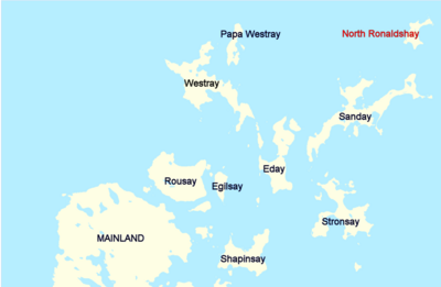 Map showing the North Orkney Islands