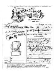 1935 order for his gravestone