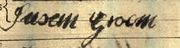 Susan Groom's Signature on her marriage lines, 1805
