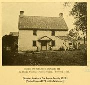 Residence of George Boone, III, built 1733 in Philadelphia (now Berks) County, Pennsylvania for his children.
