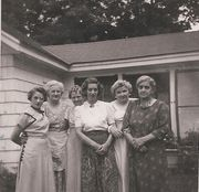 Esther Huntington, Florence Butterfield, Anna Beal, Lucille Lowe, Ina Beal, and Sadie Huntington about 1950