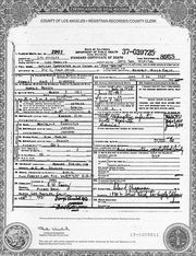 Death Certificate of Jean Harlow nee Harlean Carpenter