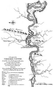 "Lt. Henry Timberlake's ""Draught of the Cherokee Country,"" depicting the locations of several Overhill Cherokee towns following the end of the Anglo-Cherokee War"