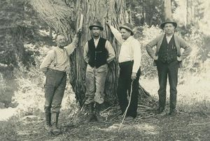 Isaac Chase Zent (at left) and unidentified friends at Yosemite National Park