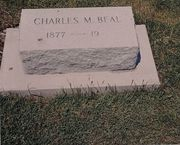 Tombstone of Charles M. Beal at Elmwood Cemetery, Waterloo, IA