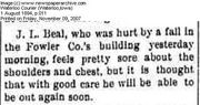 Jesse Beal Sore but okay 1894
