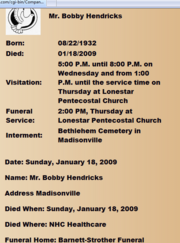 Bobby Hendricks funeral arragements.