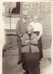 With sisters Mary (standing) and Margaret, probably early 1920s at Margaret's house at 5 Peploe Rise, Kensal Rise, Willesden.