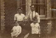 Winifred, Albert and their youngest two boys in about 1924 outside 5 Washington Road.  The older lady is thought to be Albert's mother but this is uncertain.