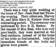 Wedding of Harvey and Mary Beal IA State Reporter  Jun 1887