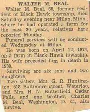 Obituary of Walter Beal