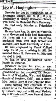 Obituary of Leo Huntington