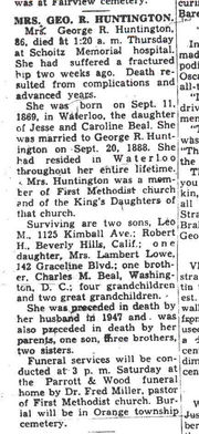 Obituary of Sadie Beal Huntington