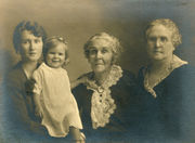 Winifred with her daughter Marjory, her grandmother Charlotte Henderson Mitchell, and her mother Louise Mitchell Dingman.