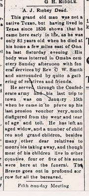 A. J. Richey, Obituary, The Omaha Breeze, 1 Feb 1911