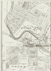 Zanesville Suburbs 1875 showing the relative location of Phelps property.
