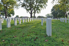 Section D, Knoxville National Cemetery where several members of the 1st Ohio Heavy Artillery are buried