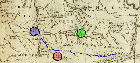 Map of Dicks River, KY, based on Reid and Winterbottom map of 1791; William Willis (55) settled on land on Wilson's Creek, a tributary to Dicks River.  The exact location of Wilson's Creek is uncertain. Colored hexagons indicate location of key early settlements:Red=Crab Orchard, Green=Boonesborough, Blue=Herrods Town