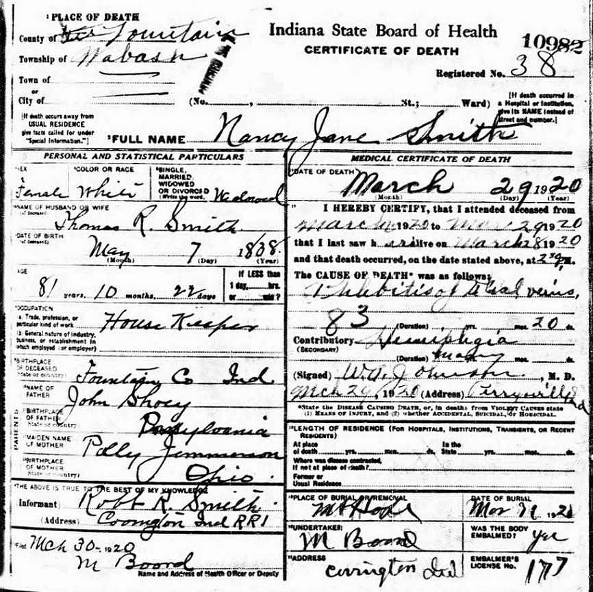 Image:Nancy Jane Shuey Smith Indiana Death Certificate 1920.jpg
