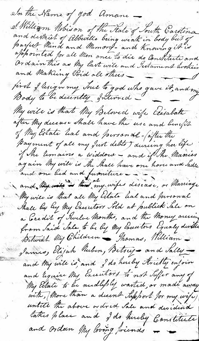 Image:Will of William Robertson Abbeville SC 1815 pg. 1.jpg