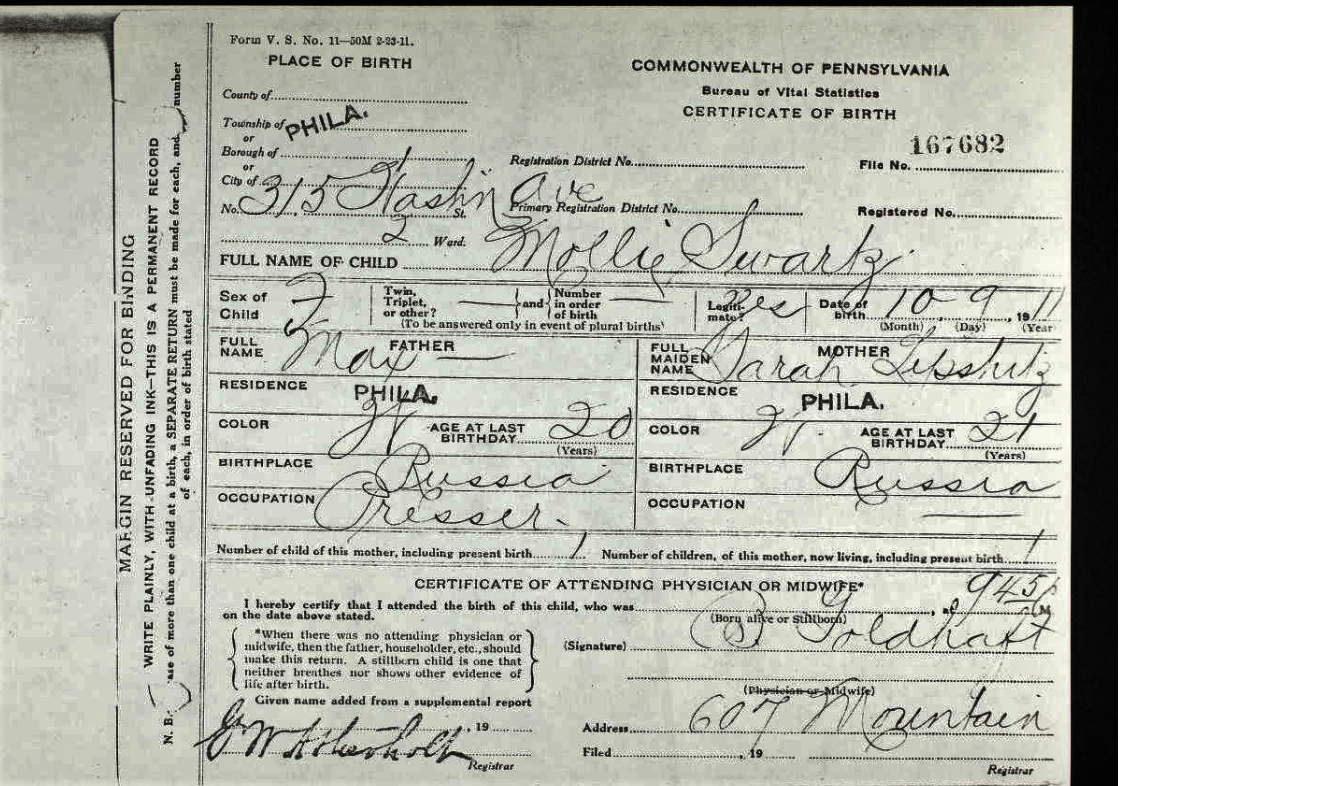 Image:Mollie Schwartz PA Certificate of Birth 1911.png