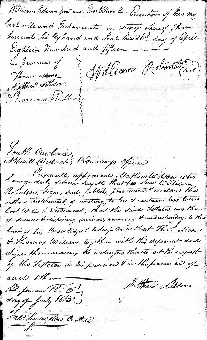 Image:Will of William Robertson Abbeville SC 1815 pg. 2.jpg