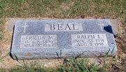 Tombstone of Ralph and Frieda Beal at Round Lake Cemetery, MN