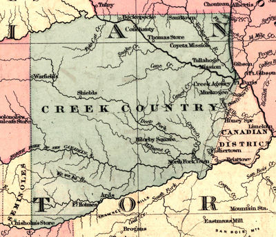 1873 map of the Creek Nation.