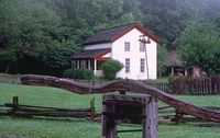 "A horse powered ""cane mill"" in front of the Gregg-Cable House, in Cades Cove, Great Smoky National Park, in TN."