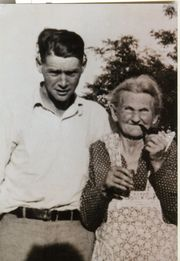 George Bradley with grandmother Esther Almeda Edmondson 1938