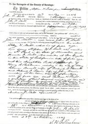 page from probate of John Rogers Mott - Andrew H. Mott a grandson of said deceased residing at the said town of Saratoga, a minor and not having a general guardian. The father of said Andrew H. Mott was a son of the said deceased & died previous to said deceased.