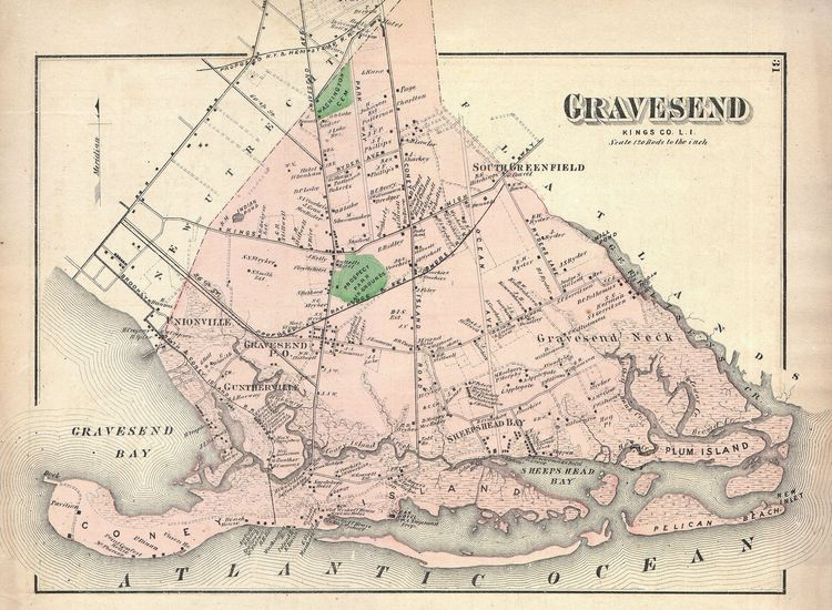 Map of Gravesend, Brooklyn, New York City, includes Coney Island - Geographicus - Gravesend-Beers-1873