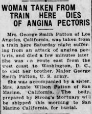 Article about the death of Patton's mother (1928)